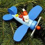 Large Santa in Blue Plane<br>Ulbricht Ornament